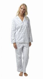 Ladies 100% Cotton Wincey Pyjamas Floral Blue on White 8 - 26